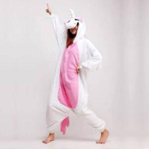 adult light pink unicorn onesie