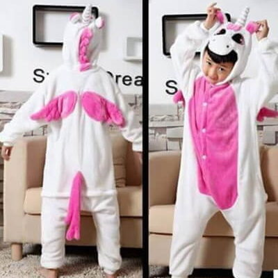 kids dark pink unicorn onesie