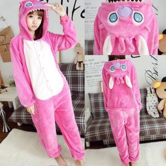 adult pink stitch onesie