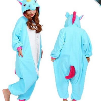 adult sky blue unicorn onesie