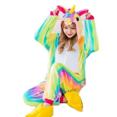 adult rainbow unicorn onesie