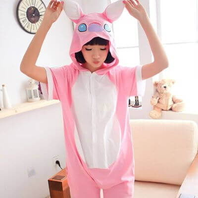 adult pink stitch summer onesie