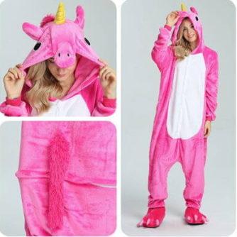 adult rose pink unicorn onesie