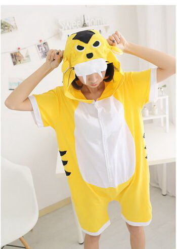 adult yellow tiger summer onesie
