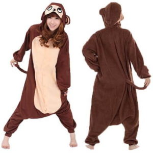 adult brown monkey onesie