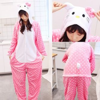 adult dot hello kitty onesie