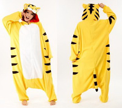 adult yellow tiger onesie