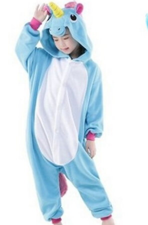 kids sky blue unicorn onesie