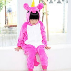 kids rosy unicorn onesie