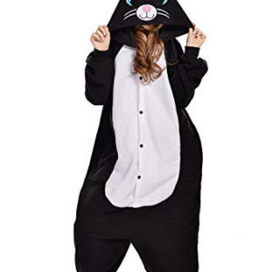 adult black cat onesie