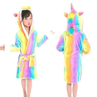 kids rainbow unicorn robe