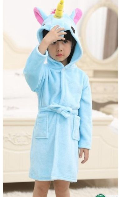Kids Sky Blue Unicorn robe